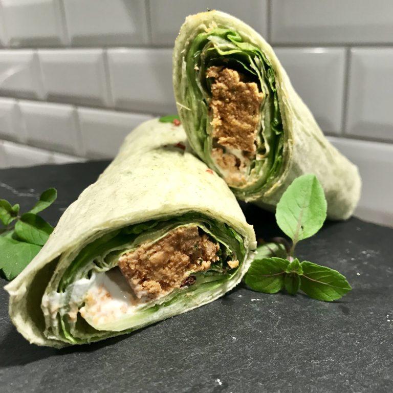 Wrap s hamburgerom z lososa na thajský spôsob